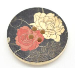 Buttons-30mm-Multicolour-034-Flower-034-Pattern-Wood-Round-4-Holes-5Pcs