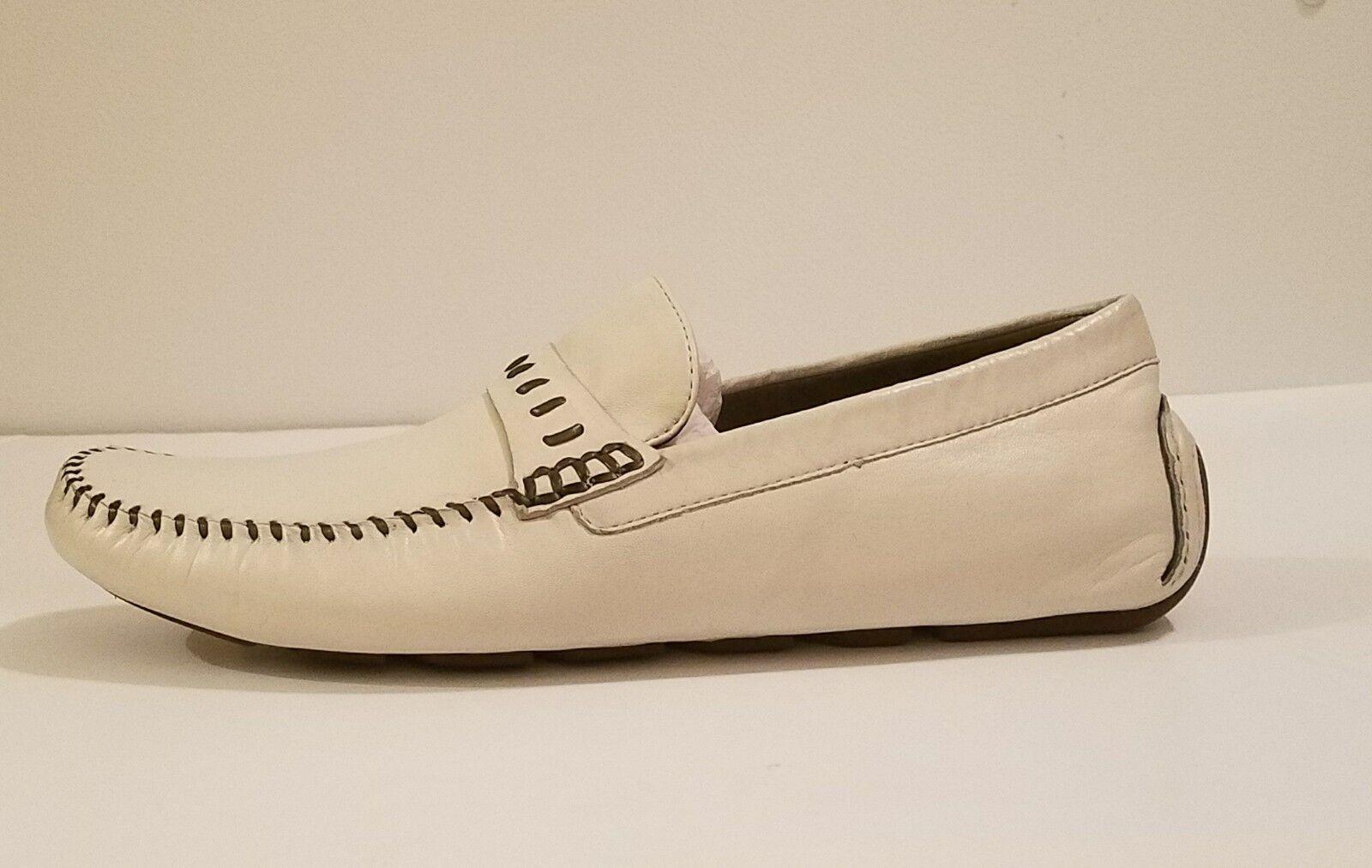 NWB Robert Zur Men's Glove Penny Loafers Dune True Glove Ivory White sz 10.5