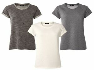 Casual-Shape-Top-Blouse-decorated-size-6-8-10-12-14-16-Women-Cream-Grey