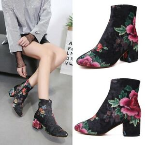 New-Women-Floral-Suede-Low-Block-Heels-Ankle-Boot-Party-Prom-Side-Zipper-Booties