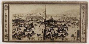 Napoli-Marina-Italia-Foto-Sommer-Stereo-P28T4n22-Vintage-Albumina-c1870