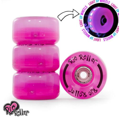 Rio Roller Pink Frost Light Up Quad Roller Disco Skate Wheels
