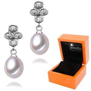 Perlen-Zuchtperlen-Zirkonia-Ohrstecker-Ohrring-8mm-aus-925-Silber-LED-Box
