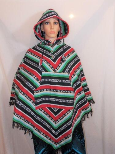 Boho Made Hand Soft Nepal From Poncho Multi Fair New Trade coloured Cotton Hippy 1EqSz