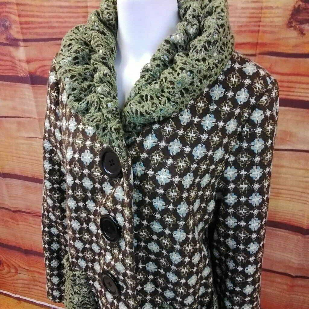 AN REN NEW YORK BROWN MULTI COLOR COAT SIZE LARGE - image 4
