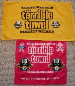 PITTSBURGH-STEELERS-TERRIBLE-TOWELS-80-SEASONS-TOWEL-LOT-INCLUDING-PINK-TOWEL