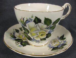 Regency-Bone-China-Tea-Cup-amp-Saucer-Set-Yellow-White-Roses-Purple-Flowers