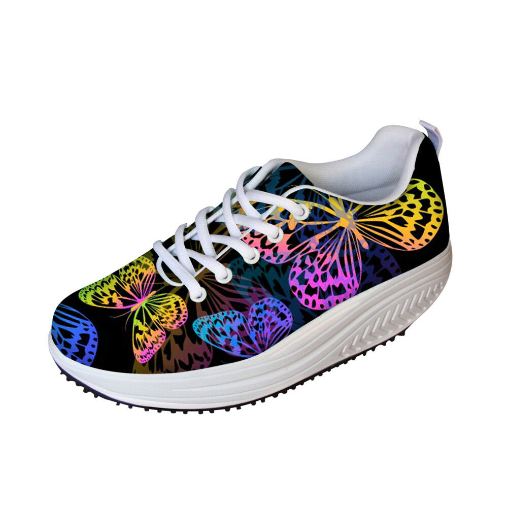 FORUDESIGNS Womens Butterfly Shape Up Sneakers Wedge Jogging Trainers Comfy shoes