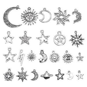 23pcs-Mixed-Star-Moon-Sun-Planet-Charm-Tibet-Silver-Pendant-Bracelet-Findings