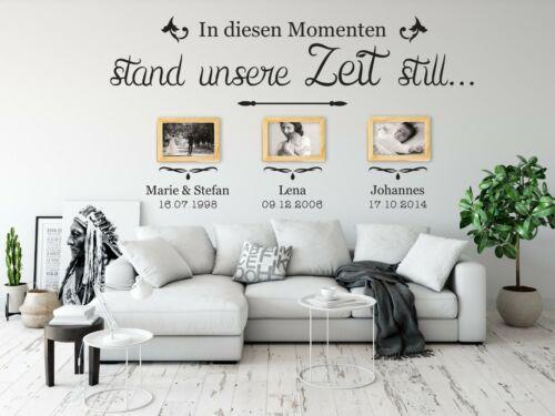 Wandtattoo Momente Wohnzimmer Spruch Wanddeko Bilder Fotorahmen mit Namen a34