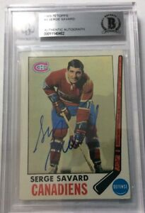 SIGNED-1969-70-TOPPS-SERGE-SAVARD-ROOKIE-CARD-AUTOGRAPH-BGS-Authenticated-EX