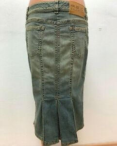 R-E-D-VALENTINO-Gr-IT-46-DE-42-Jeans-Denim-Rock-Gruen-Midi-Wadenlang-LOGO