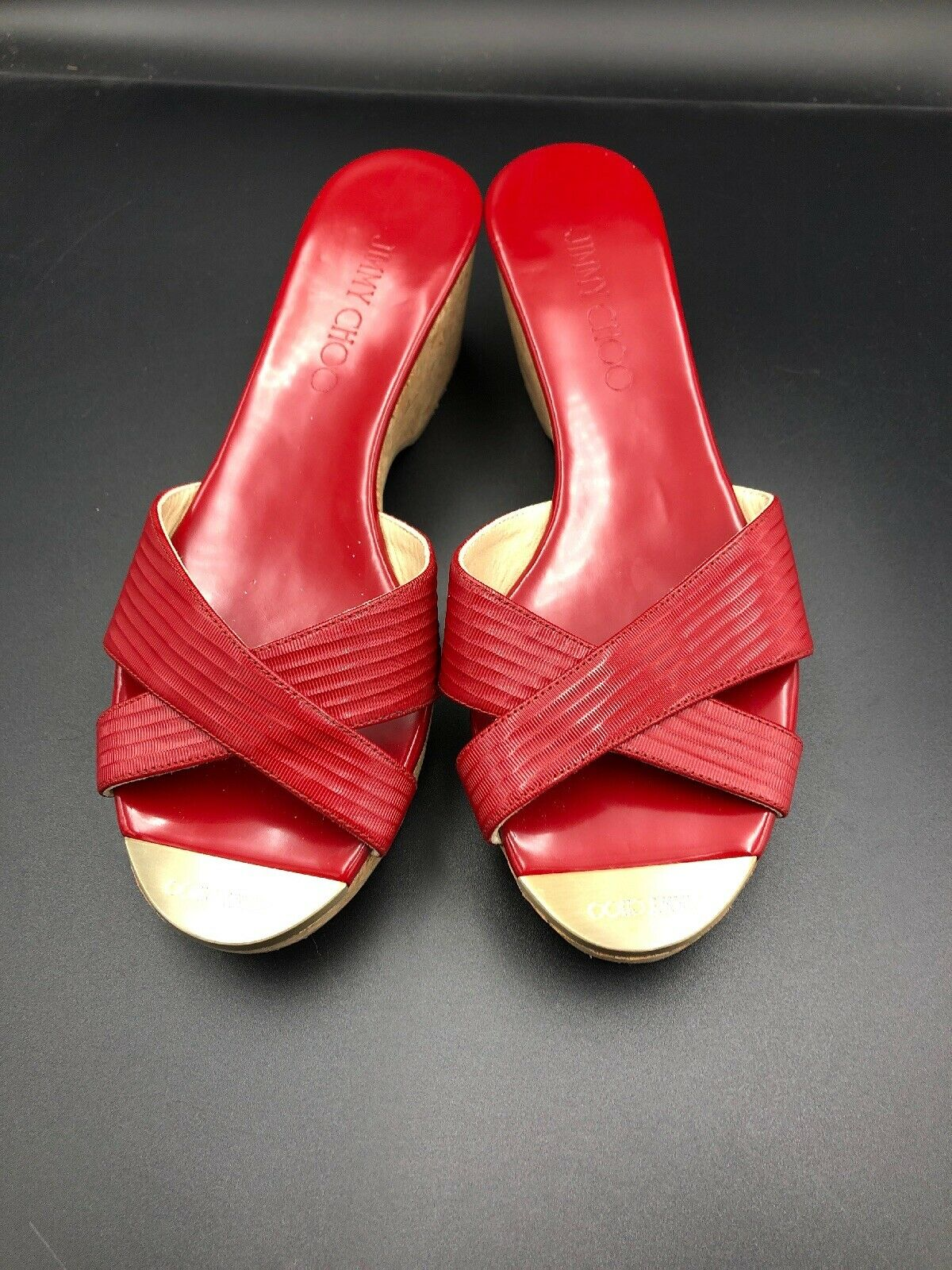 JIMMY CHOO 'Panna' Wedge Mid Heel Sandals schuhe rot Leather Größe Uk 4 Eu 37 New