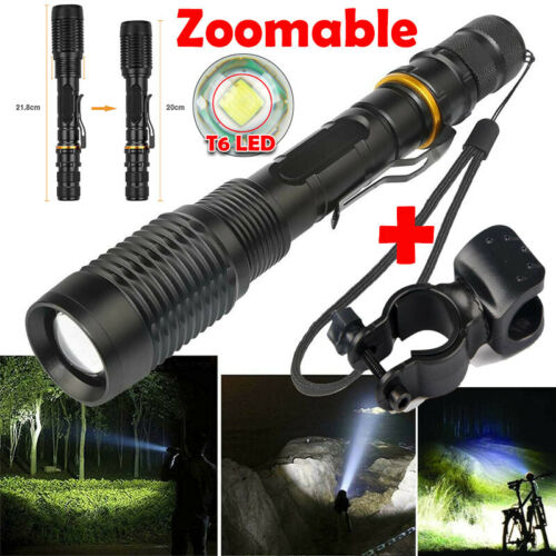 Skywolfeye 120000LM T6 LED Flashlight Lamp Zoomable 18650 Focus Torch Light USA