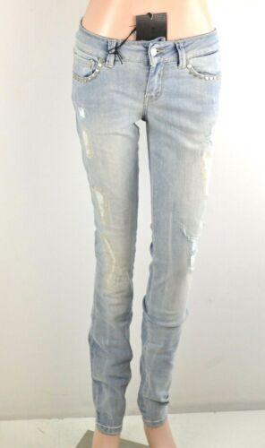 John Richmond Donna Jeans Skinny Slim Fit Stretch Middle waist Destroyed Blu