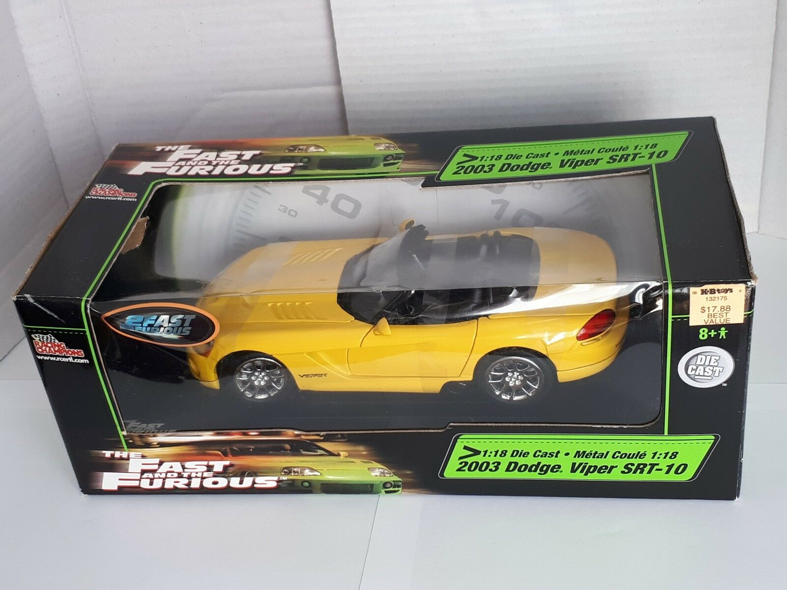 1 18 RACING CHAMPIONS THE FAST AND THE FURIOUS 2003 DODGE VIPER SRT10 YELLOW MIB