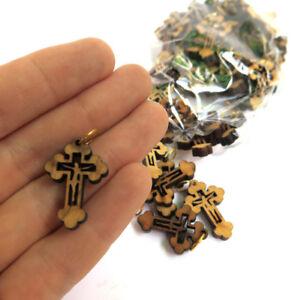 50-PCS-Crosses-Olive-Wood-Pendants-Rosary-Handmade-Holyland-made-Bethlehem