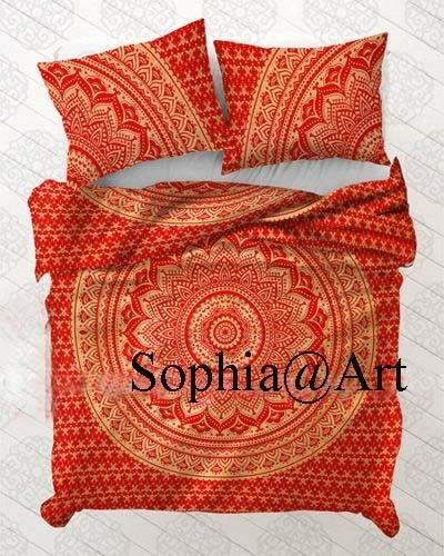 Indian Red Gold Ombre Duvet Doona Cover Mandala Bohemian Reversible Quilt Cover