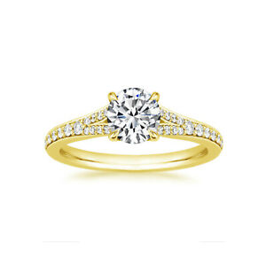 0.88 Ct Round Moissanite Engagement Brilliant Ring 18K Solid Yellow Gold Size 9
