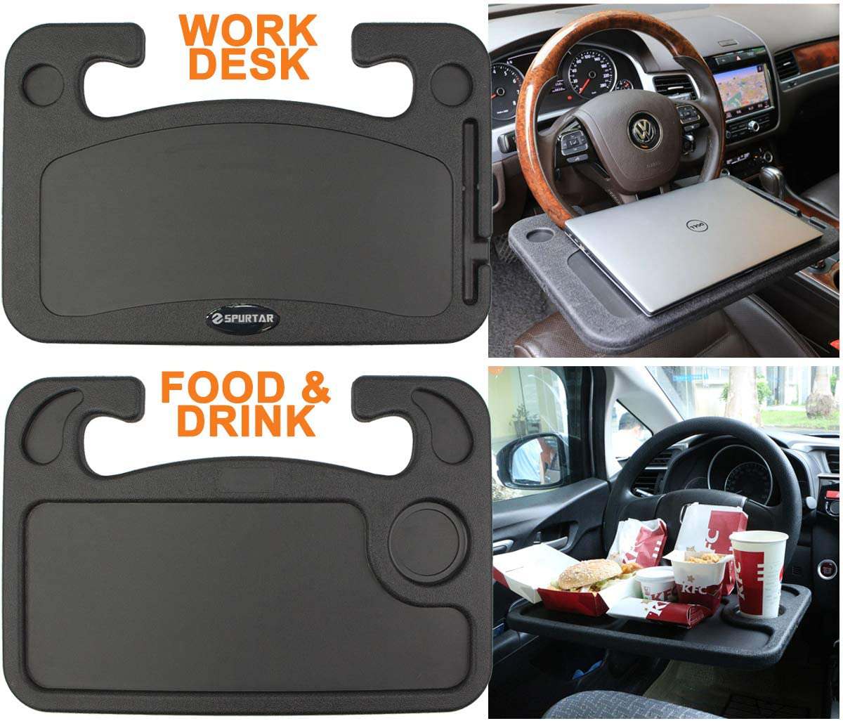 Car Steering Wheel Tray Desk Two Sided for Laptop Food Drink Work Table Holder | eBay