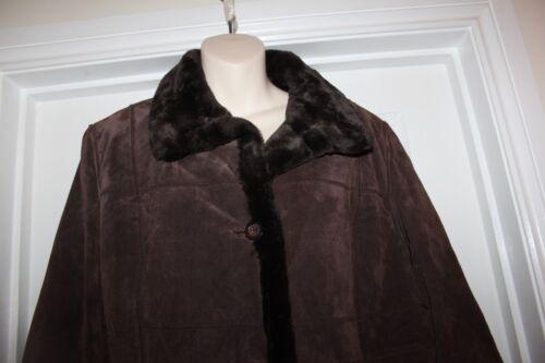 scamosciata L pelle vera inserti con Cappotto marrone in taglia pelliccia da donna in XqwX71AR