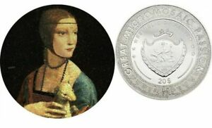 LADY WITH AN ERMINE Great Micromosaic Passion 3 Oz Silver Coin 20$ Palau 2020