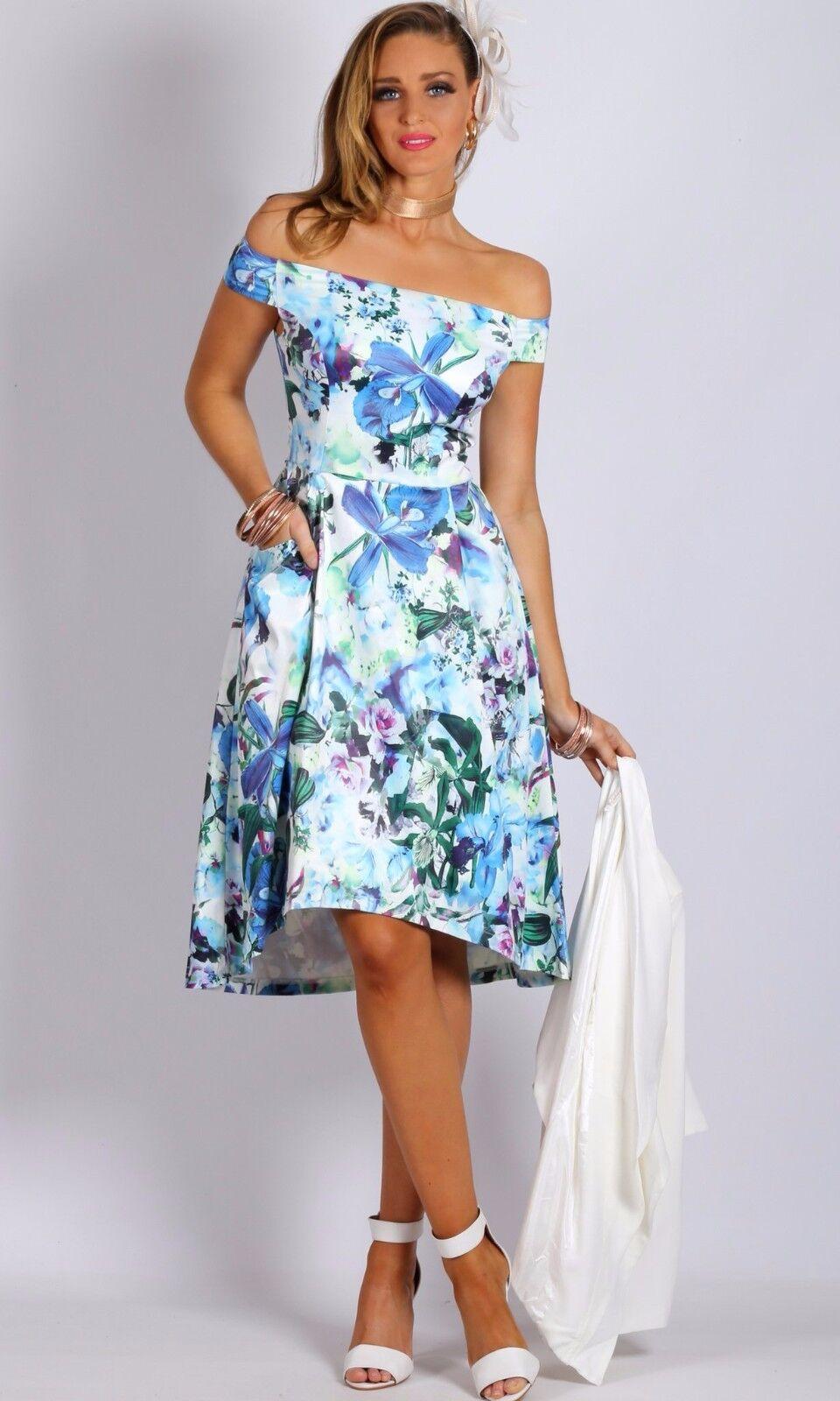 TEABERRY damen OFF SHOULDER HIGH LOW Blau FLORAL DRESS