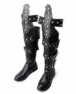 new mens knee high rock roma motor gladiator rivet