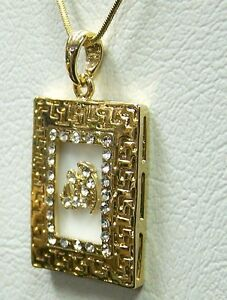 gold plate f and pendant rectangular in set paua necklace