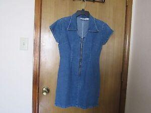 Details about Juniors jeans*5 7 5*Summer dress 100%Cotton,Blue,Cap  Sleeve,Zipper denim,Sz 9,HQ