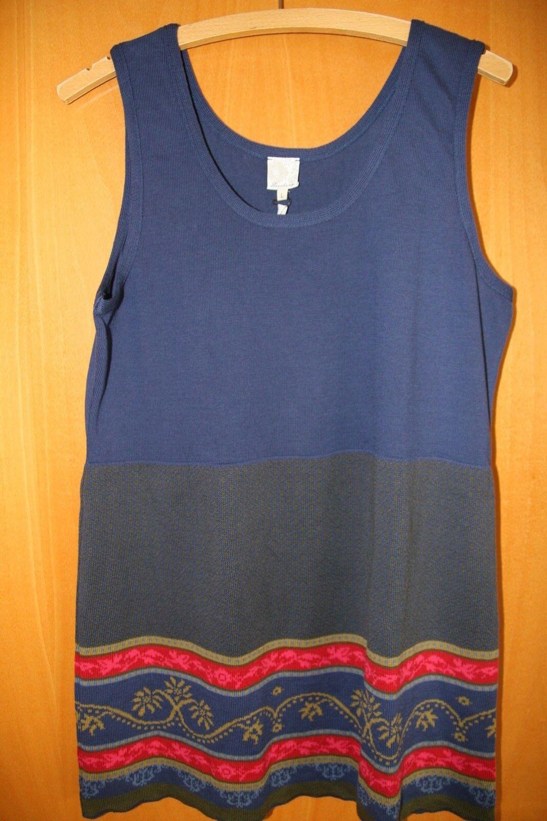 DEERBERG  Kleid   Tunika  L   42 blau bunt gemustert  Neu ÖKO Baumwolle Flomax