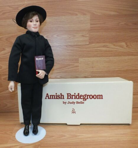 Genuine Judy Belle 1993 Amish Man Groom Collectible Porcelain Doll in Box!