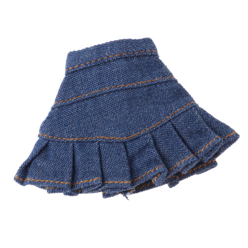 12inch Fashion Denim Pleated Skirt for Blythe Licca XinYi Girl Doll Dress Up