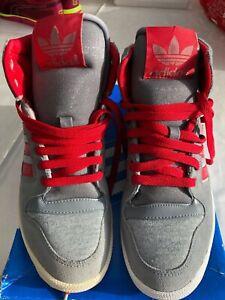 Entièrement neuf dans sa boîte Adidas ADI Décennie Haute Jersey en daim gris et tissu Baskets UK 5-EU 38