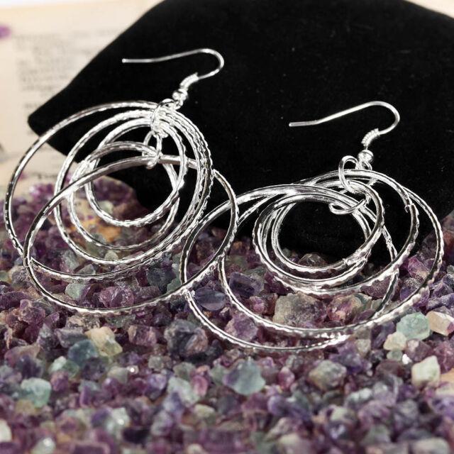 Ep Gypsy Jewelry  Silver plated Hoops circles rings pendant dangle hook Earrings