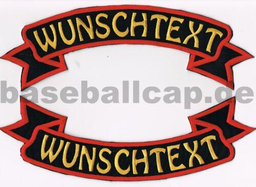 Rückenpatch Rückenaufnäher Nr.11 Wunschtext oben+unten Schleife Aufnäher Patche