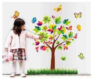 Das Bild Wird Geladen Wandtattoo Bunt Kinderzimmer Baby Vogel Schmetterling  Baum Sticker
