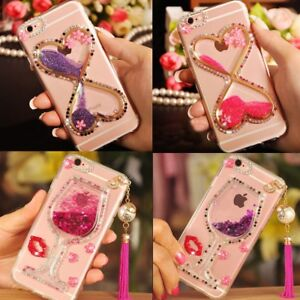 quality design 0e44d 7bfc6 Details about Girls Rhinestones Glitter Dynamic Quicksand back Case Cover  For OPPO Phones