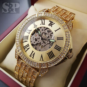 Hip Hop Iced Out Techno King Skeleton Automatic Chronograph Lab Diamonds Watch Ebay