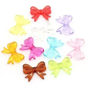 Lot-10-Perle-Noeud-Papillon-30mm-x-23mm-Couleur-mixte-Perle-en-Acrylique