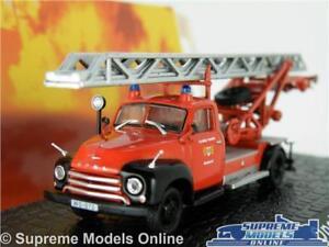 OPEL BLITZ MODEL FIRE ENGINE 1:76 SCALE ATLAS IXO RED TURNTABLE LADDER GERMANY K