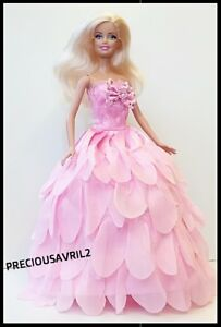 Brand new Barbie doll clothes outfit princess wedding dress pink petal dress.