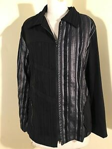 STYLISH-TS14-BLACK-SILVER-STRIPED-PANELLED-ZIP-FRONT-UNLINED-L-SL-JACKET-SZ-16