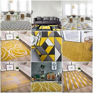 Image Is Loading Modern Ochre Mustard Rug For Living Room Soft