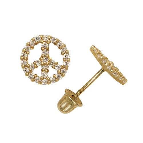 14K Yellow//White Gold Peace Symbol Stud Screw Back Earrings 0.70CT
