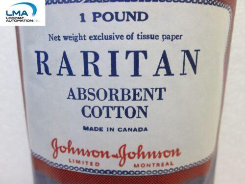 JOHNSON JOHNSON ABSORBENT COTTON ROLL 1 POUND WHITE RARITAN *** NEW
