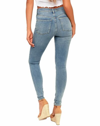 Free People Womens Long and Lean High-Waist Jeans 25 Light Indigo