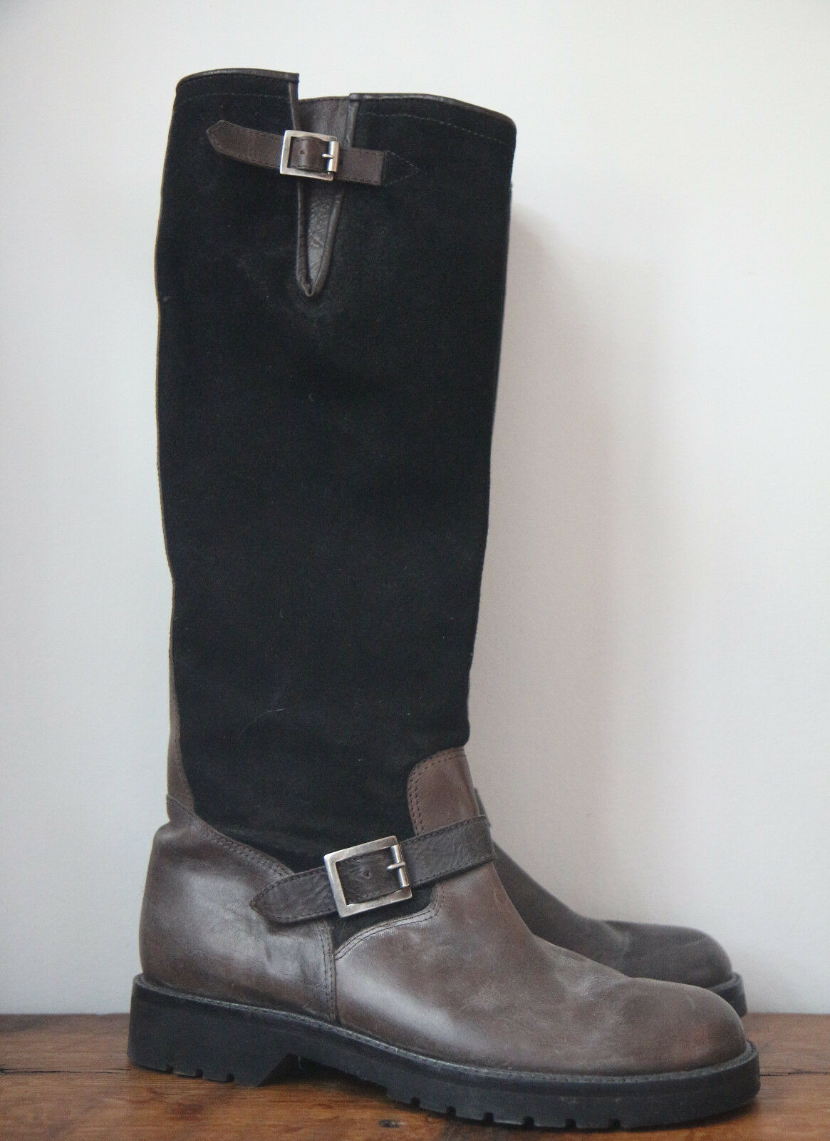 Ralph Lauren Suede Black Leather Tall Riding Boots Boots Boots Size 9 ebb0a1