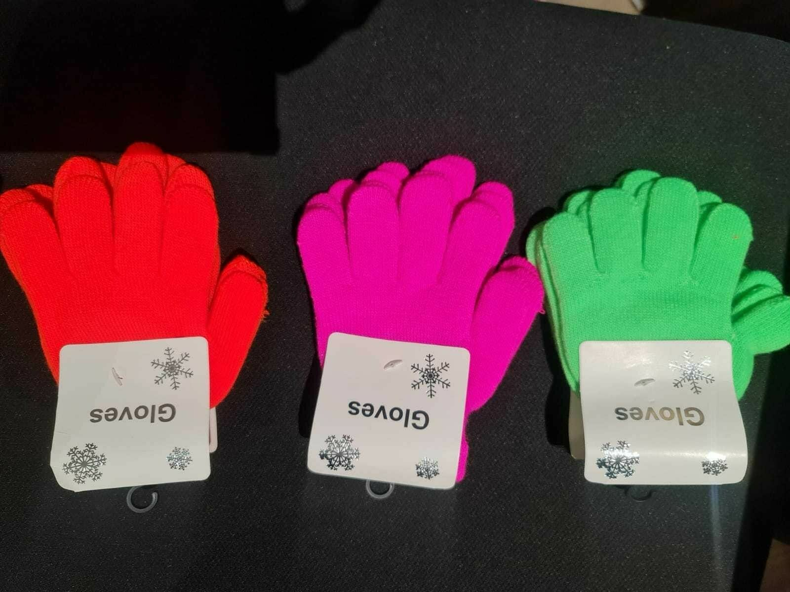1 Pair Kids Winter Gloves - Fluoro Colour Knitted - Free shipping