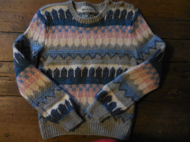 Wool Art Hand Knit Uruguay Blue Pink Gray Fair Isle Nordic Long Sleeve P Small